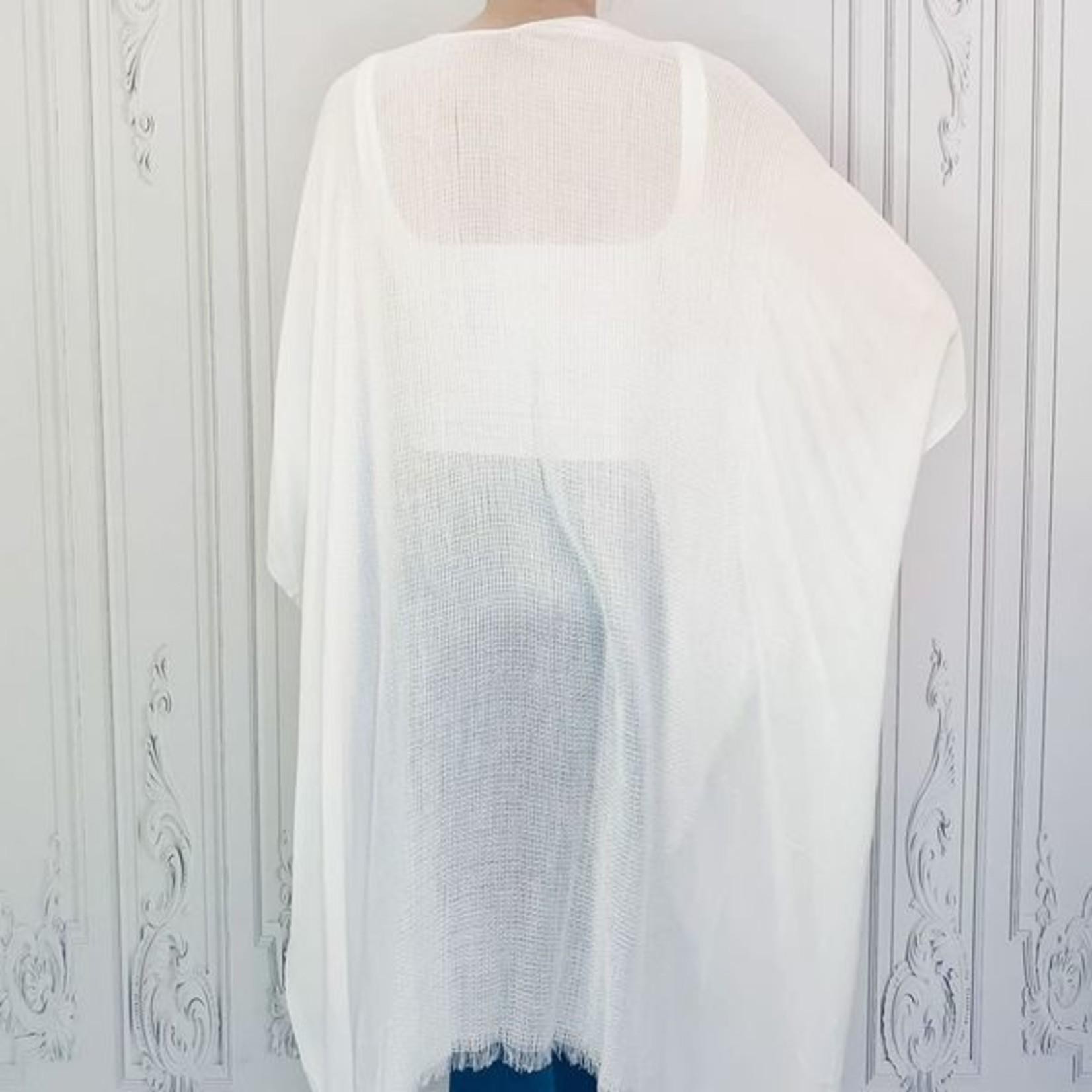 libra high low frayed trim kimono
