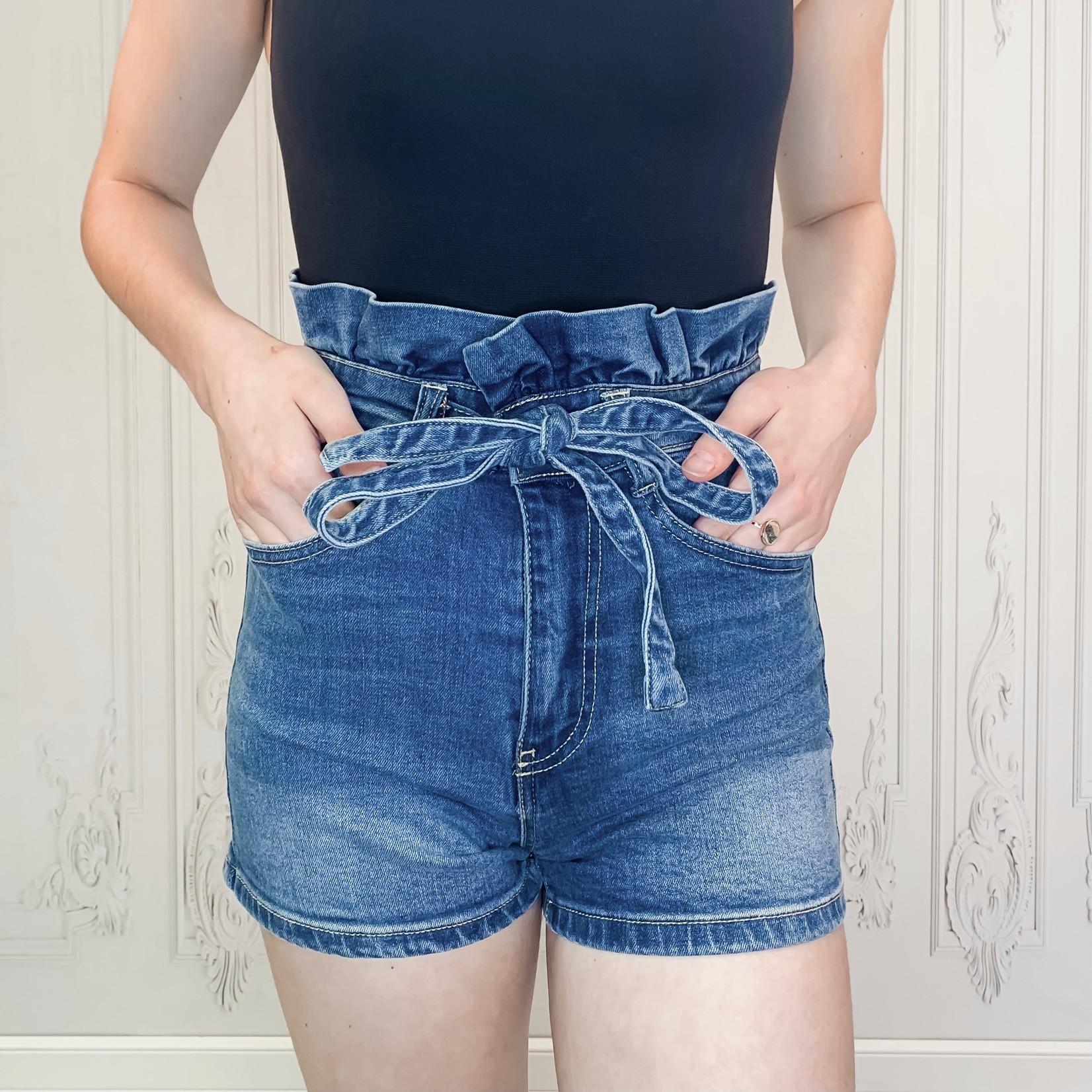 Carlee denim paperbag shorts