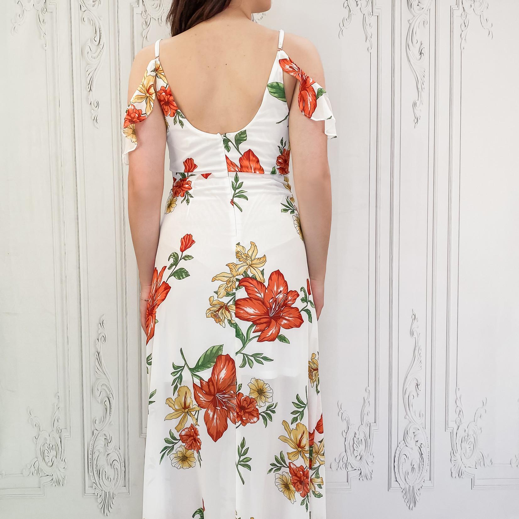 cold shoulder floral maxi dress