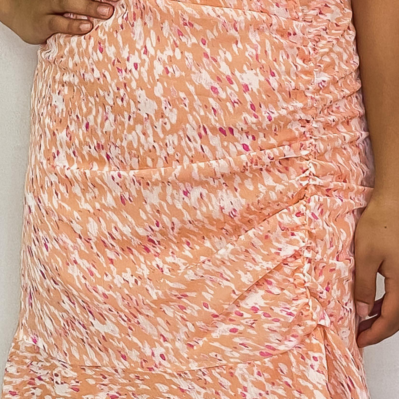 ruched ruffle mini dress
