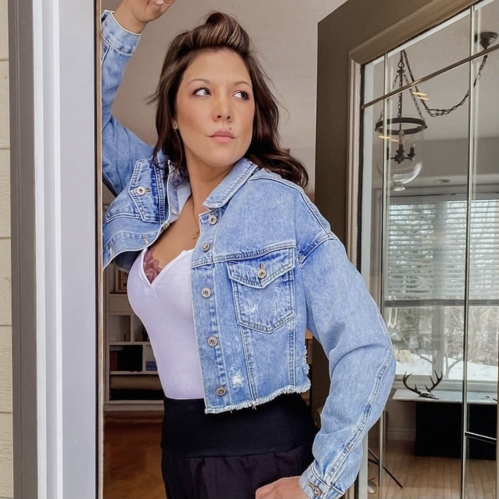 Stephanie destroyed denim jacket