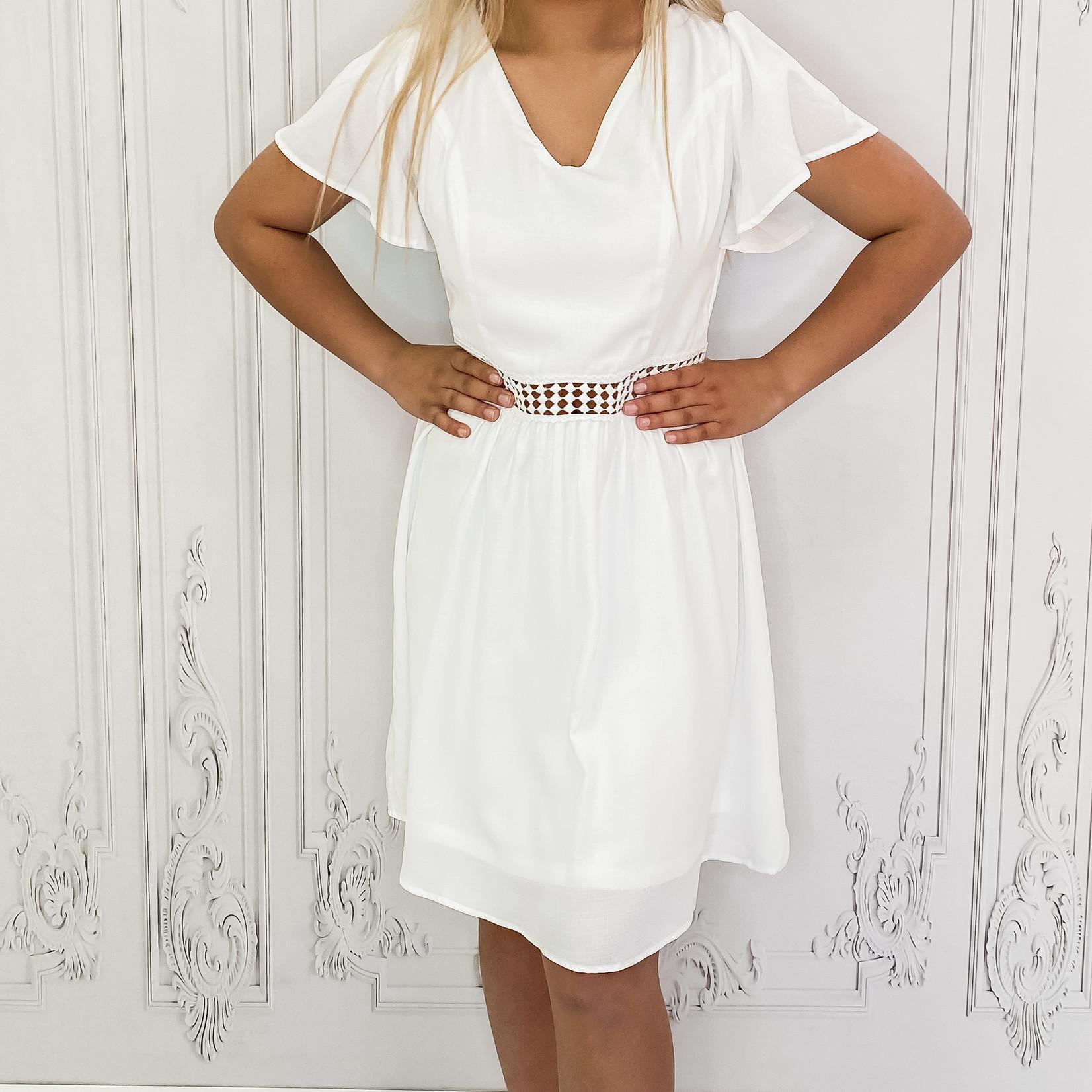 crochet waist fit & flare dress