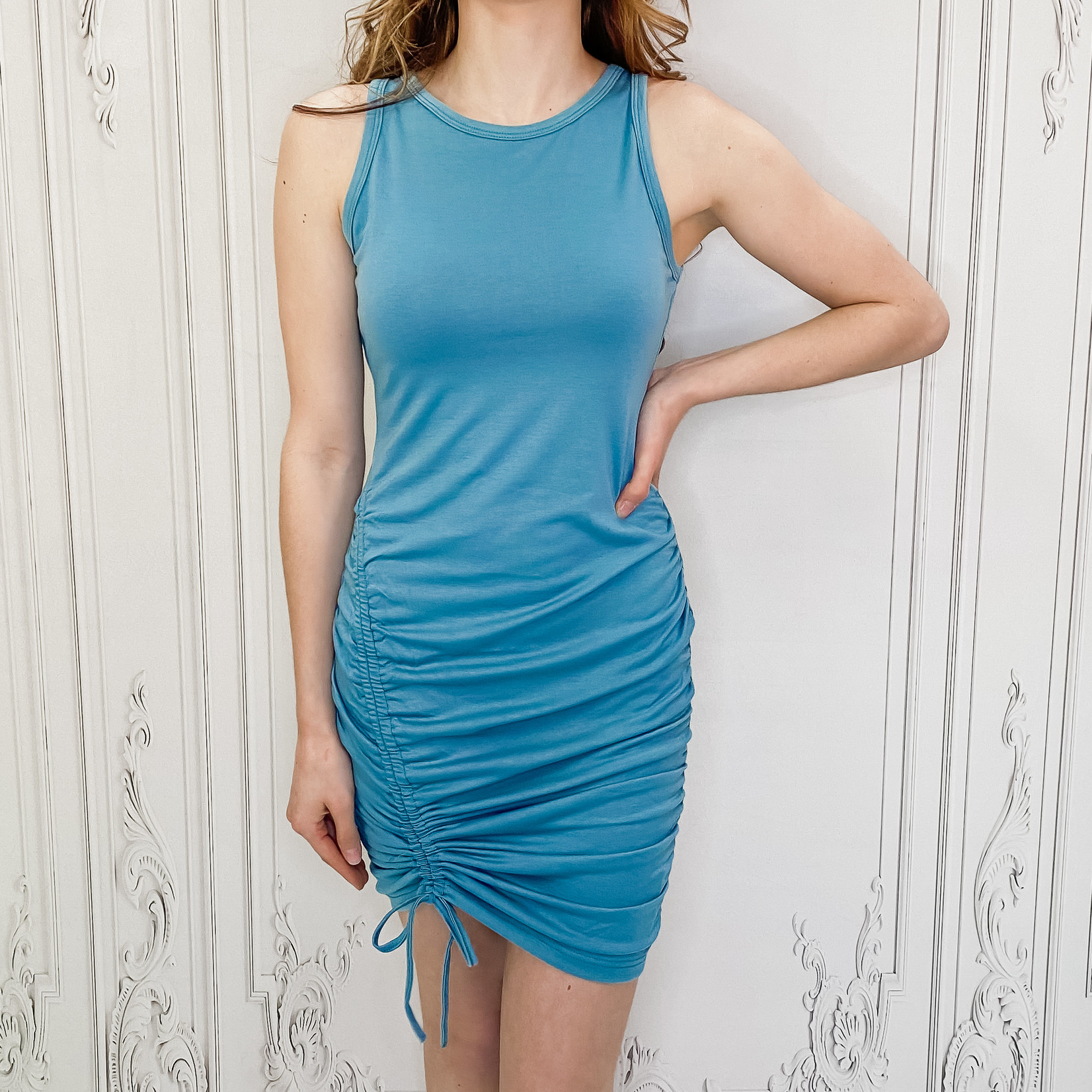 Skyla ruched side tank dress