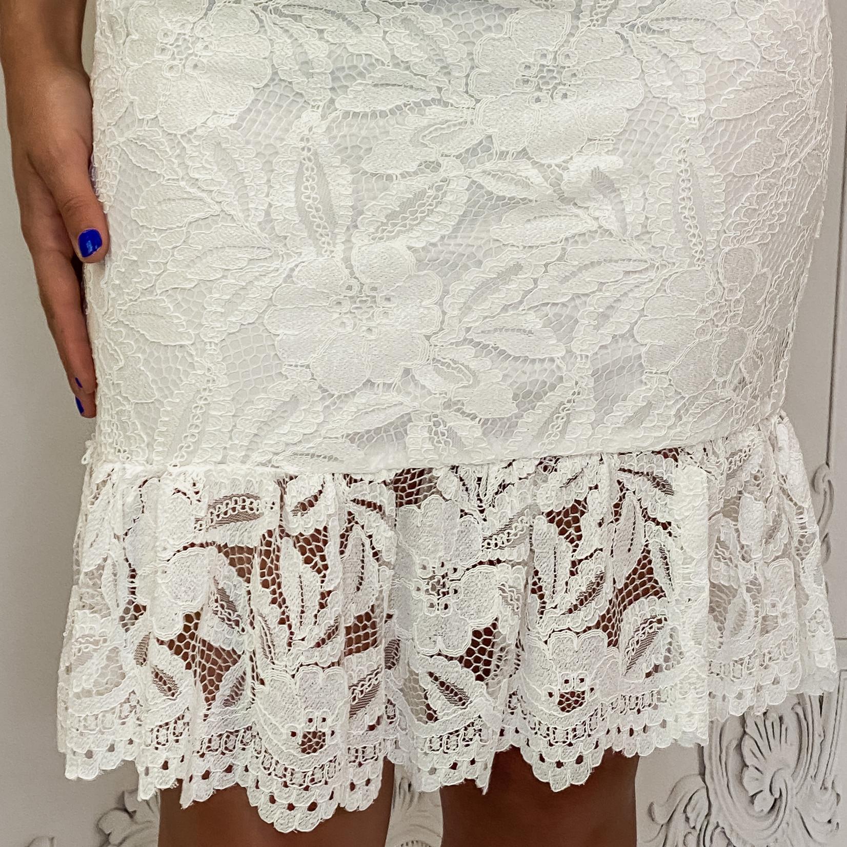 flounce bottom lace midi drs
