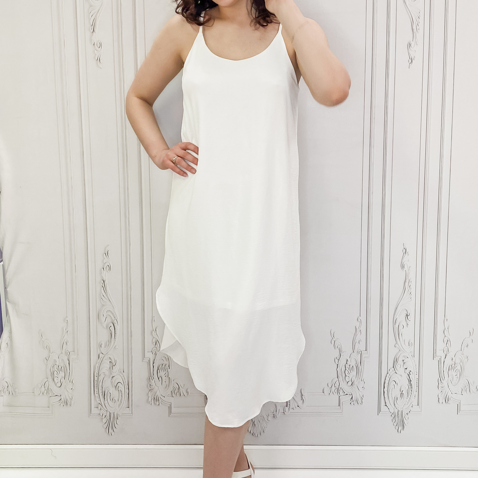 Sina rounded hem midi dress