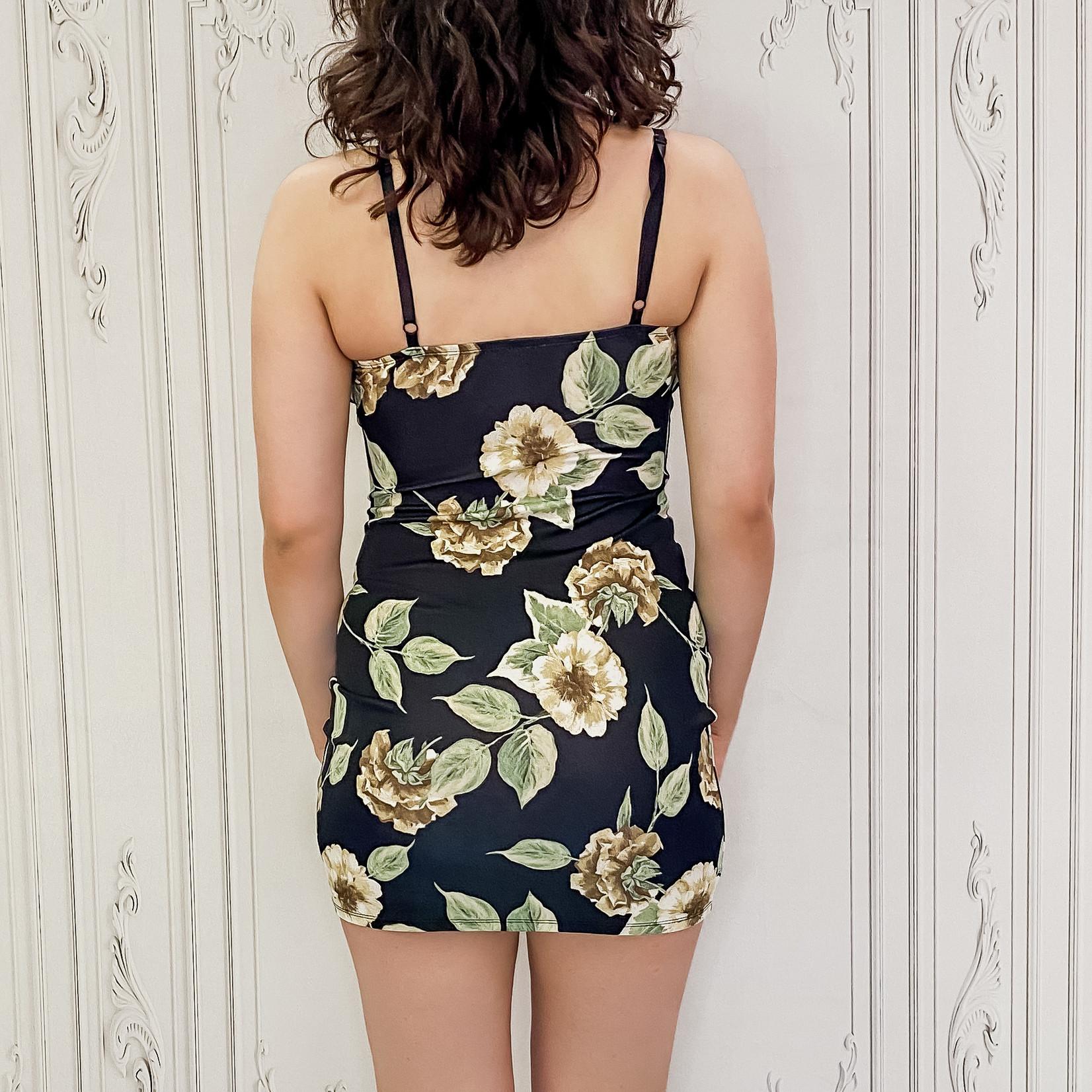 Jessie deep V floral fitted dress