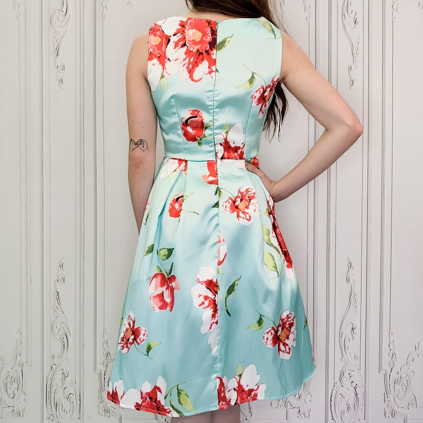 Amber structured floral dress