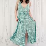 Shylo polka dot tie waist dress
