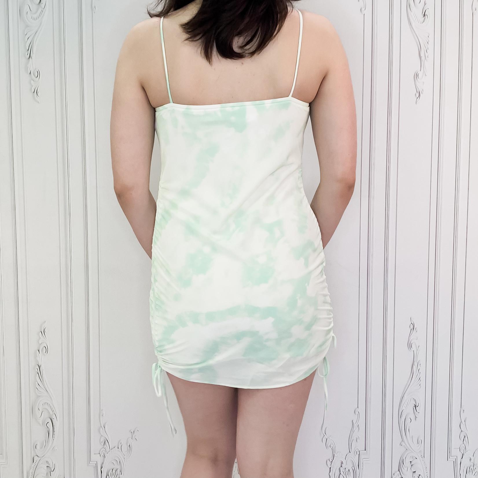 Gisele ruched side tie dye dress