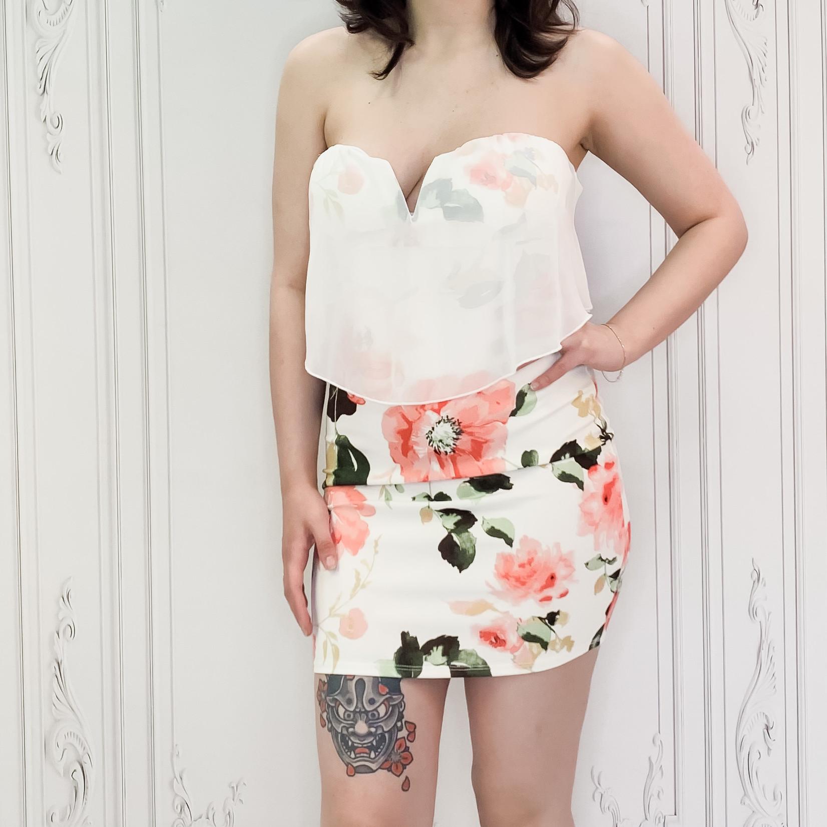 Jesse floral strapless chiffon layer dress