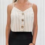 stripe linen crop top