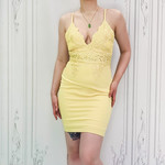 venetian lace deep v fitted drs