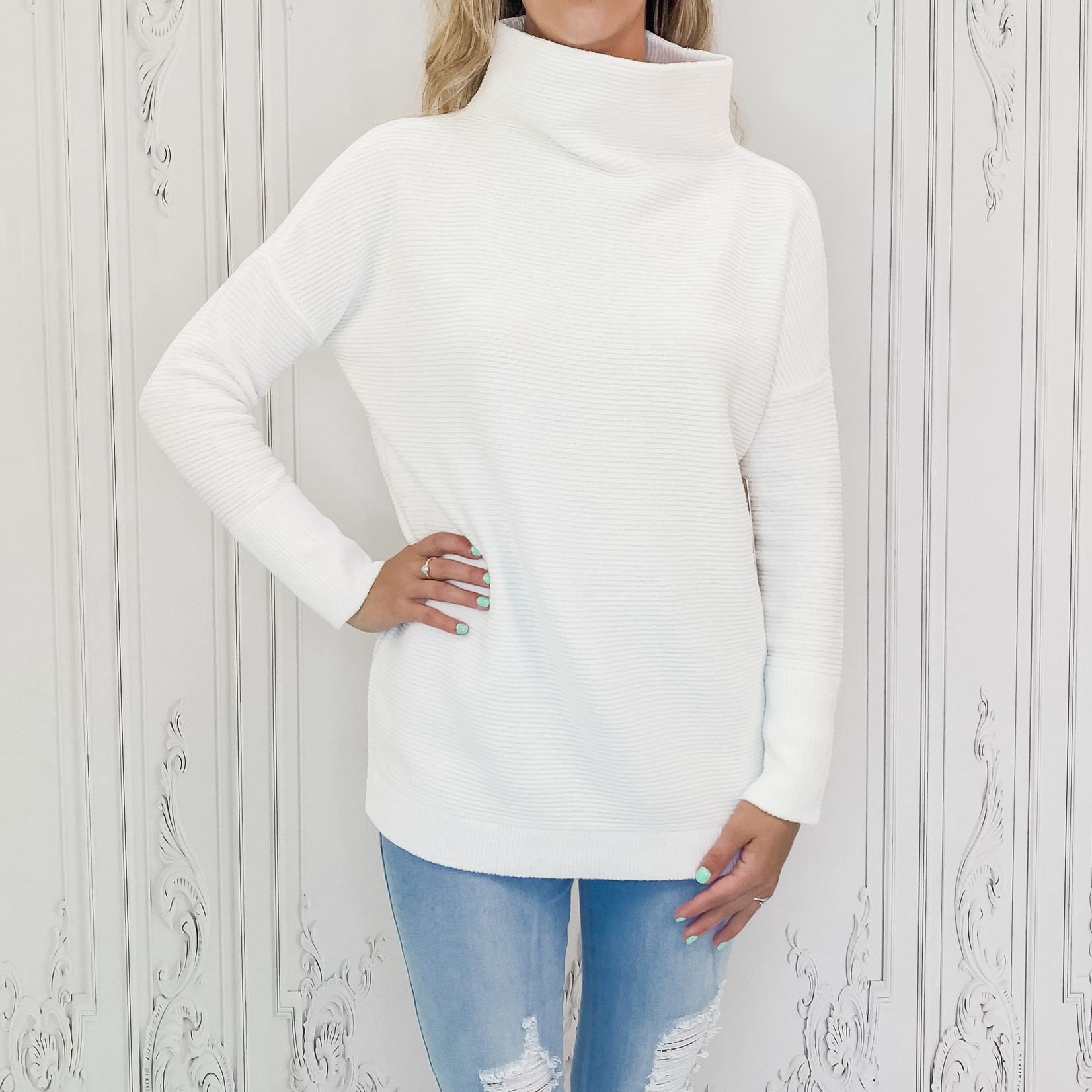 rd style - ribbed mock neck sweater