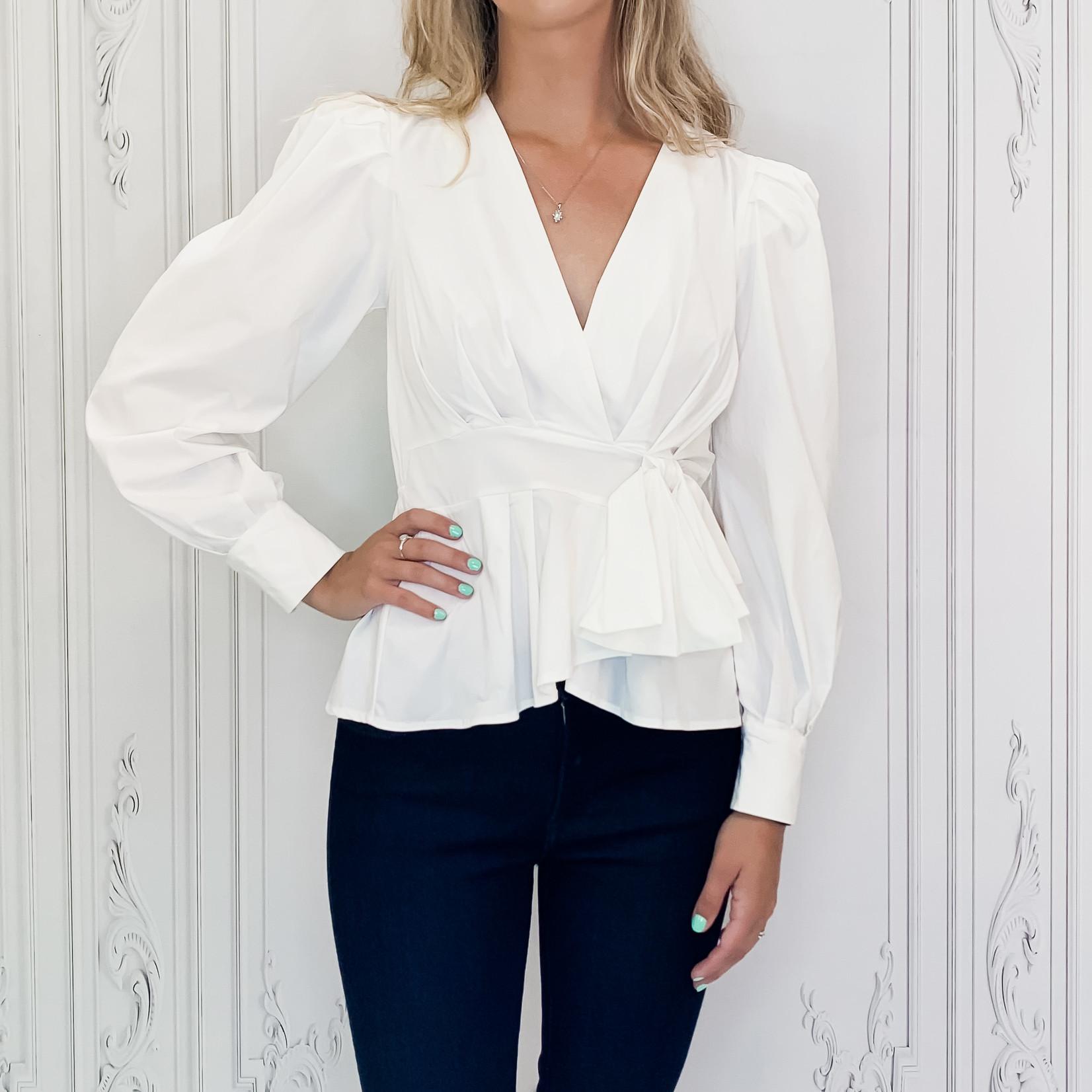 Ilyssa peplum waist tie blouse