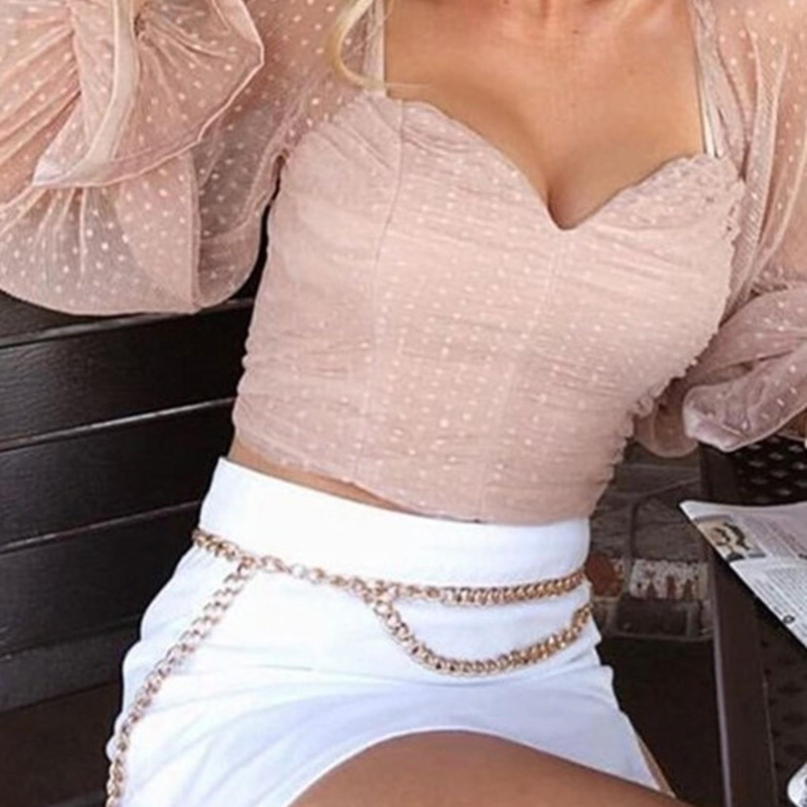 talia polka dot crop blouse