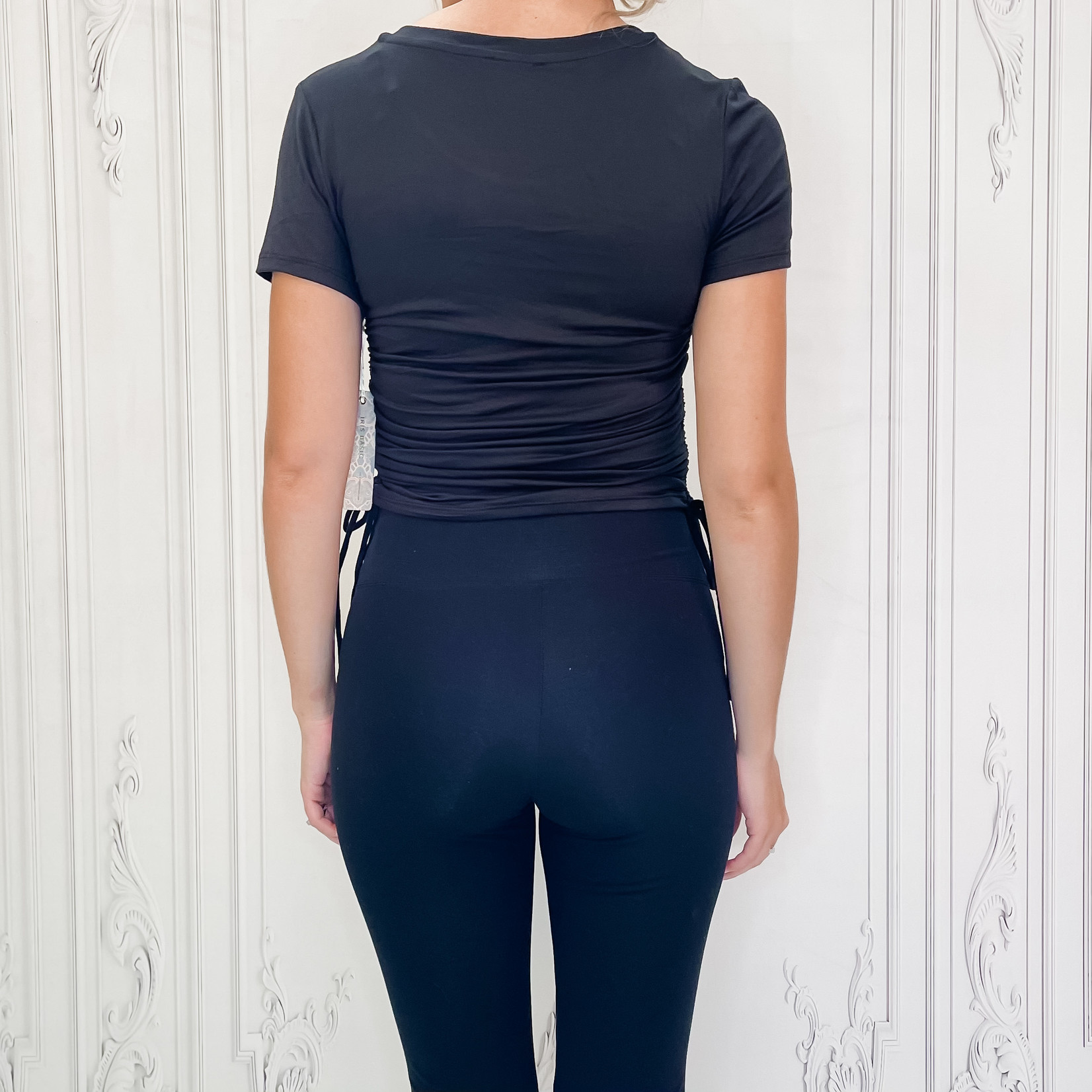 ruched side tie top