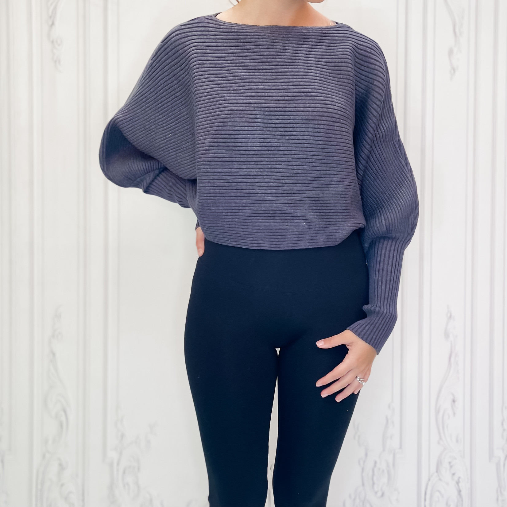 illy ribbed dolman sweater