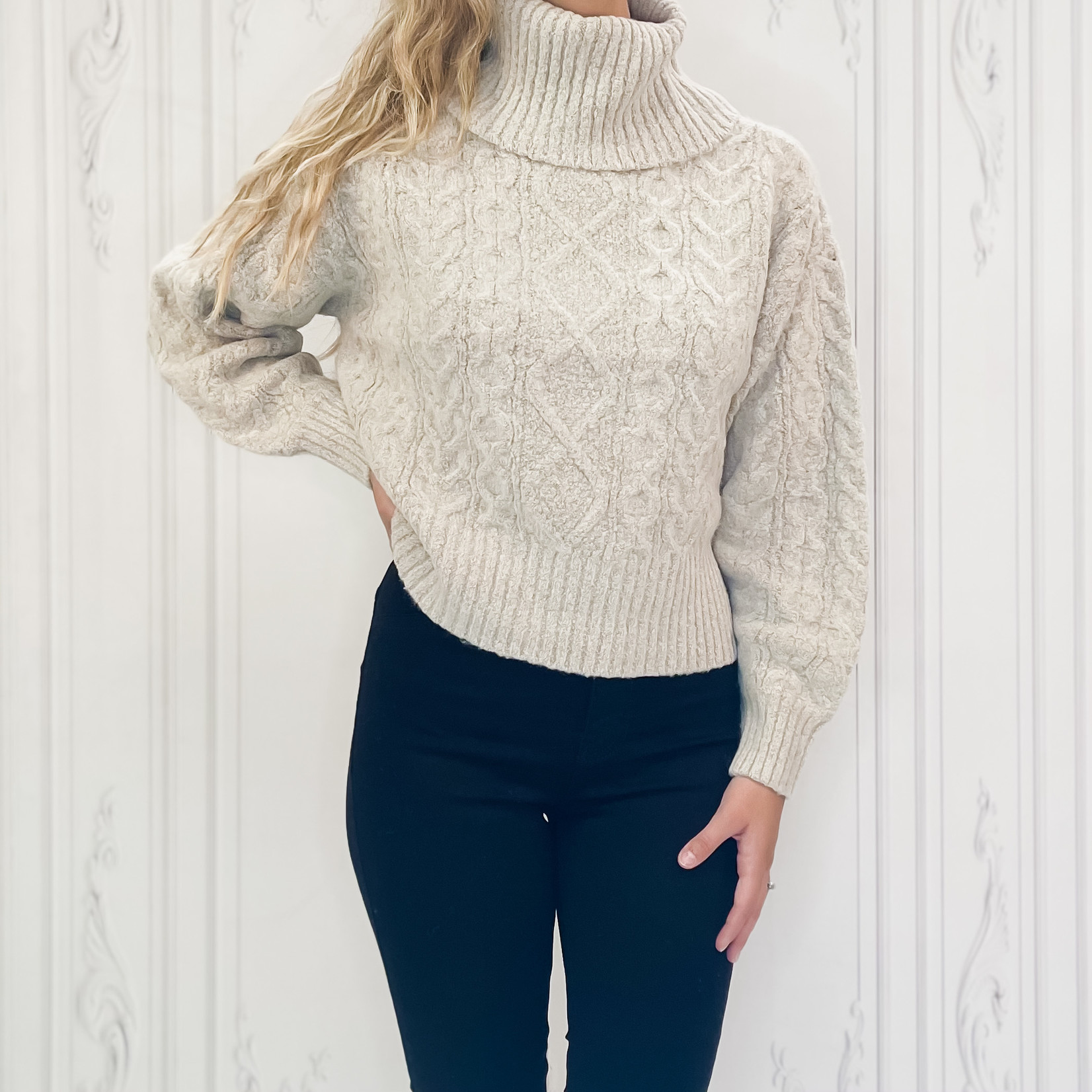 rd style - cable knit turtle neck sweater