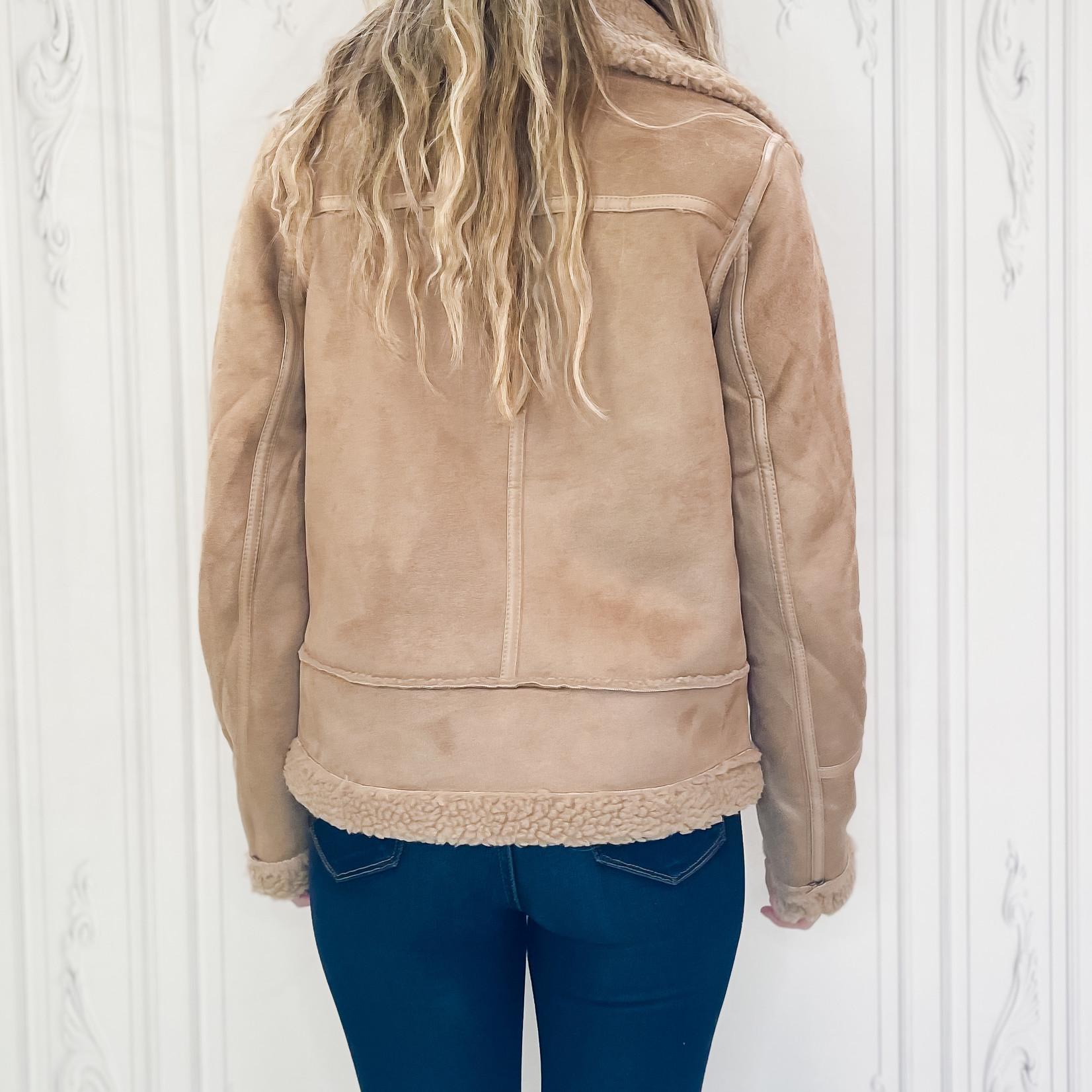 Izzy shearling biker coat