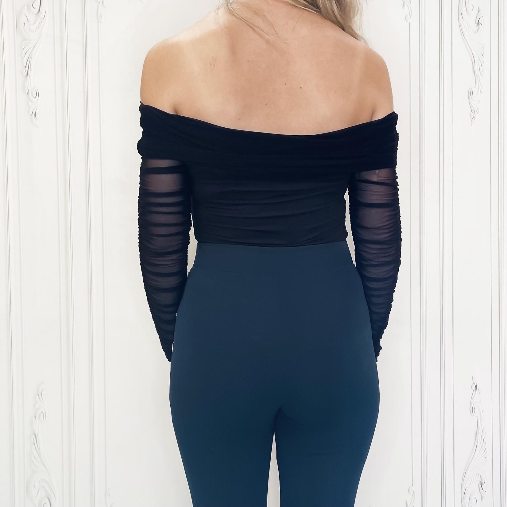 Illia mesh off shoulder bodysuit