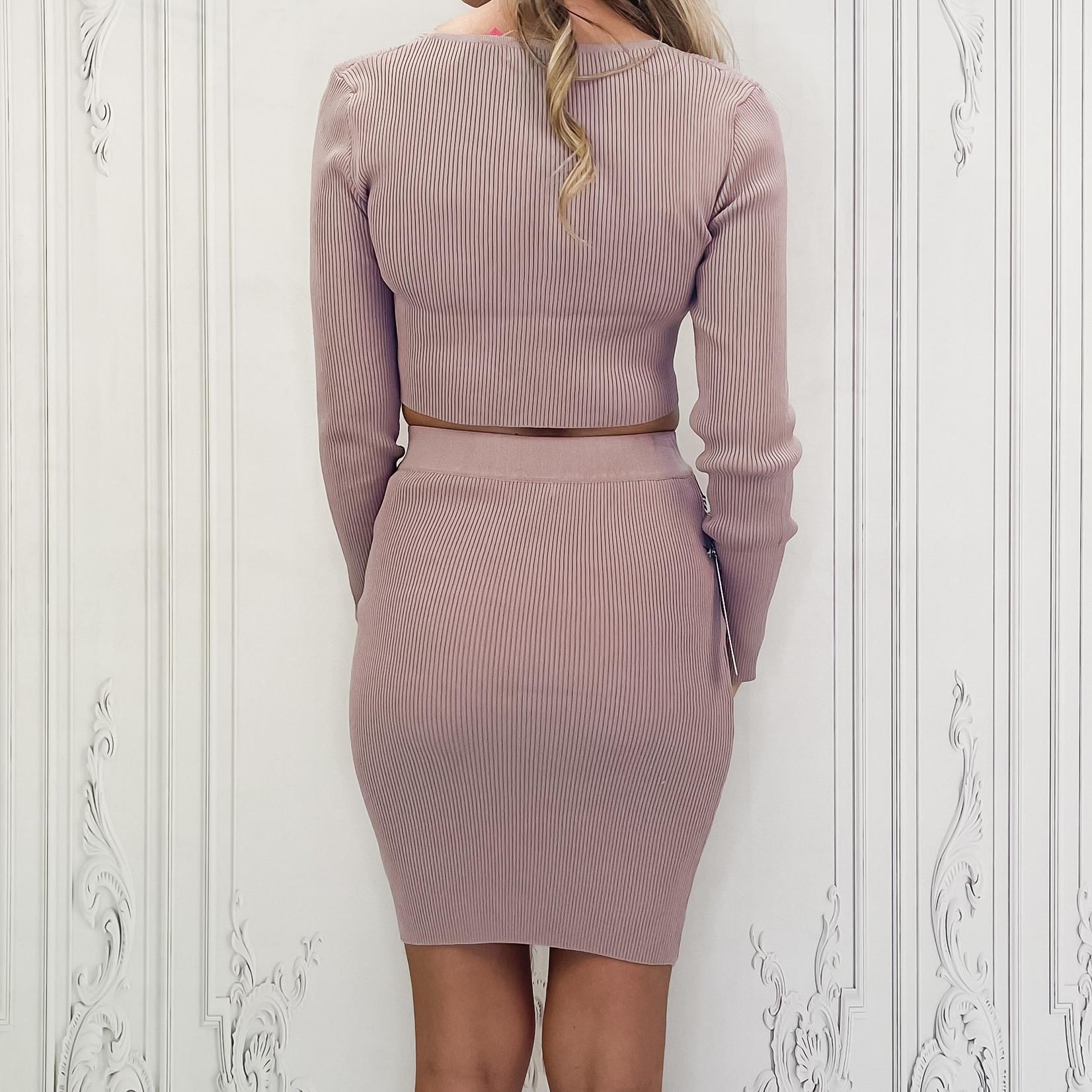 zipped sweater skirt set