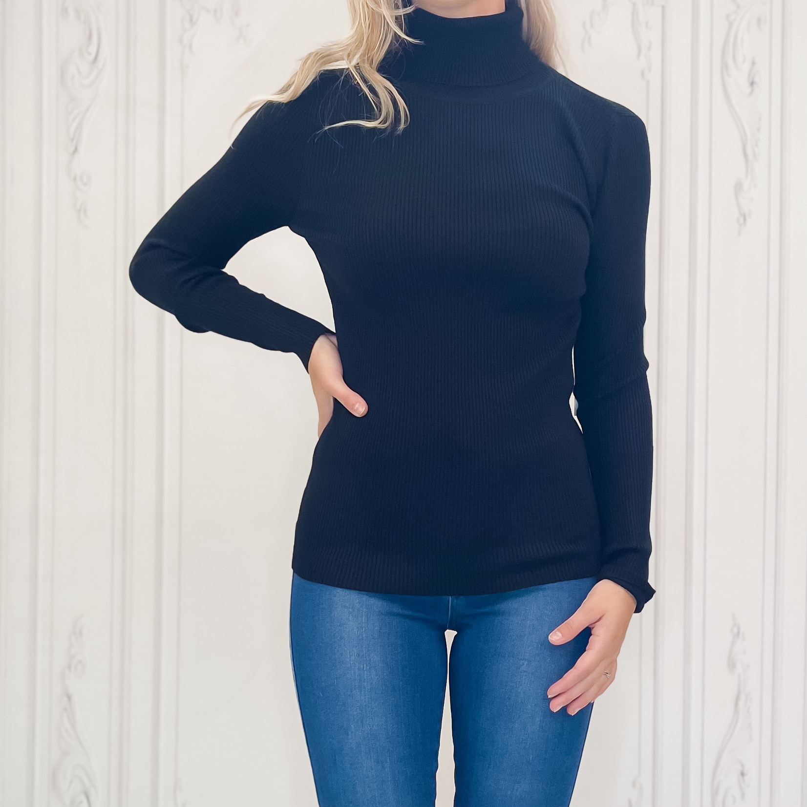Clementine ribbed turtle neck top