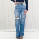 Vibe distressed wide leg jean