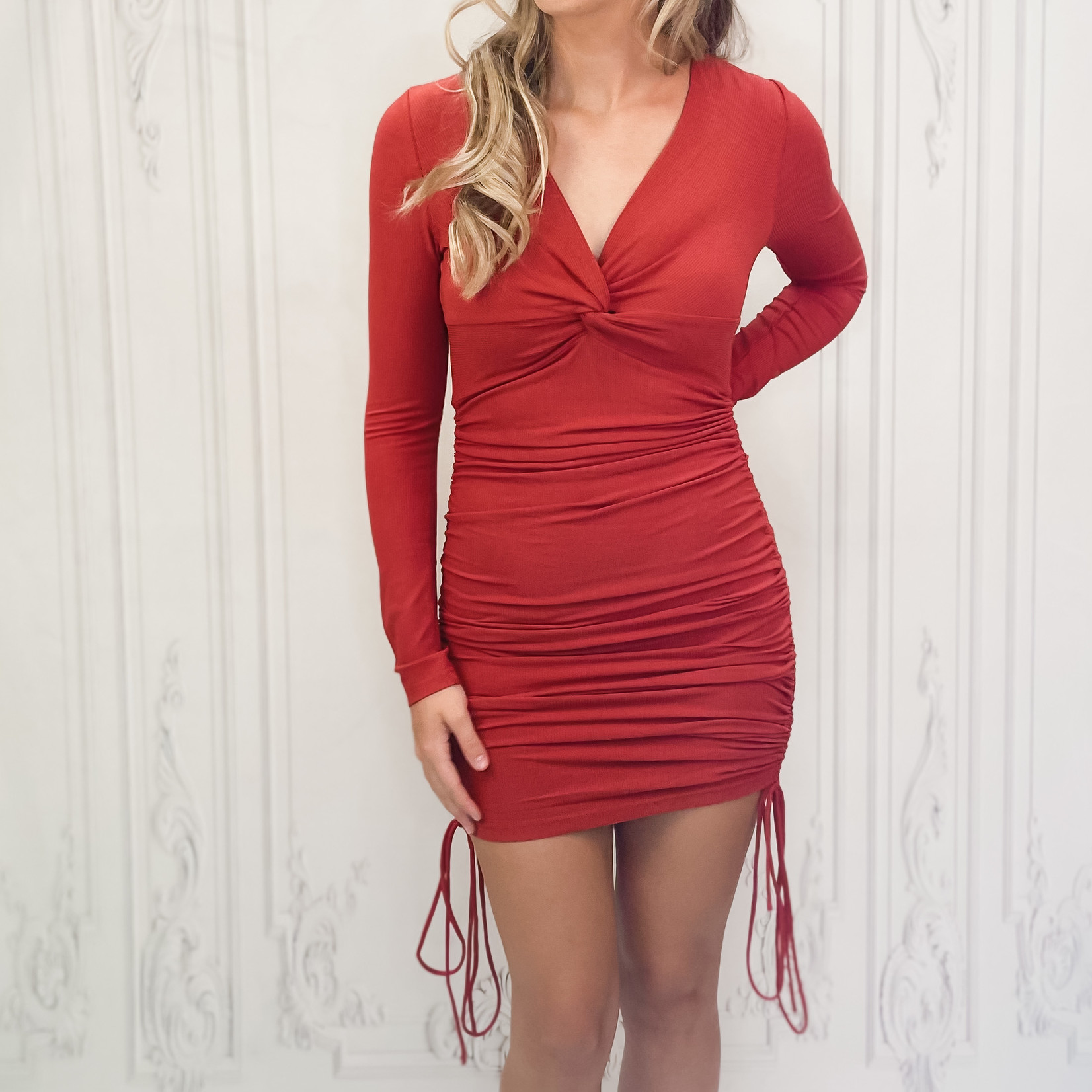 Hall ruched side long sleeve dress