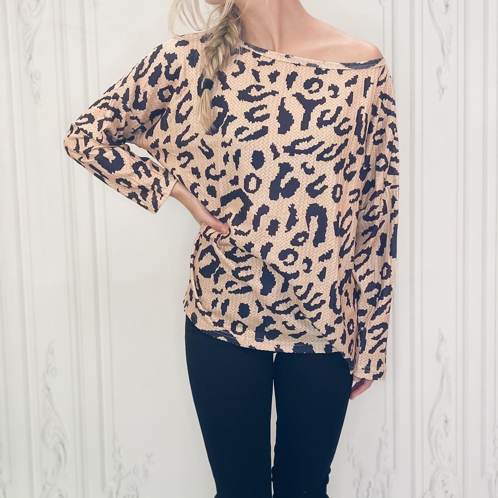 Sara off shoulder leopard sweater