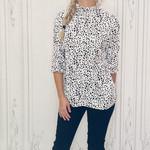 Sloane ruffle neck spotted blouse