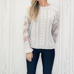 Savana crochet lace pointelle knit sweater