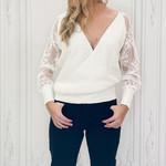 Sun v-neck latern lace sweater