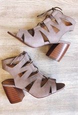 Qupid Cut Out Lace Up Bootie Taupe