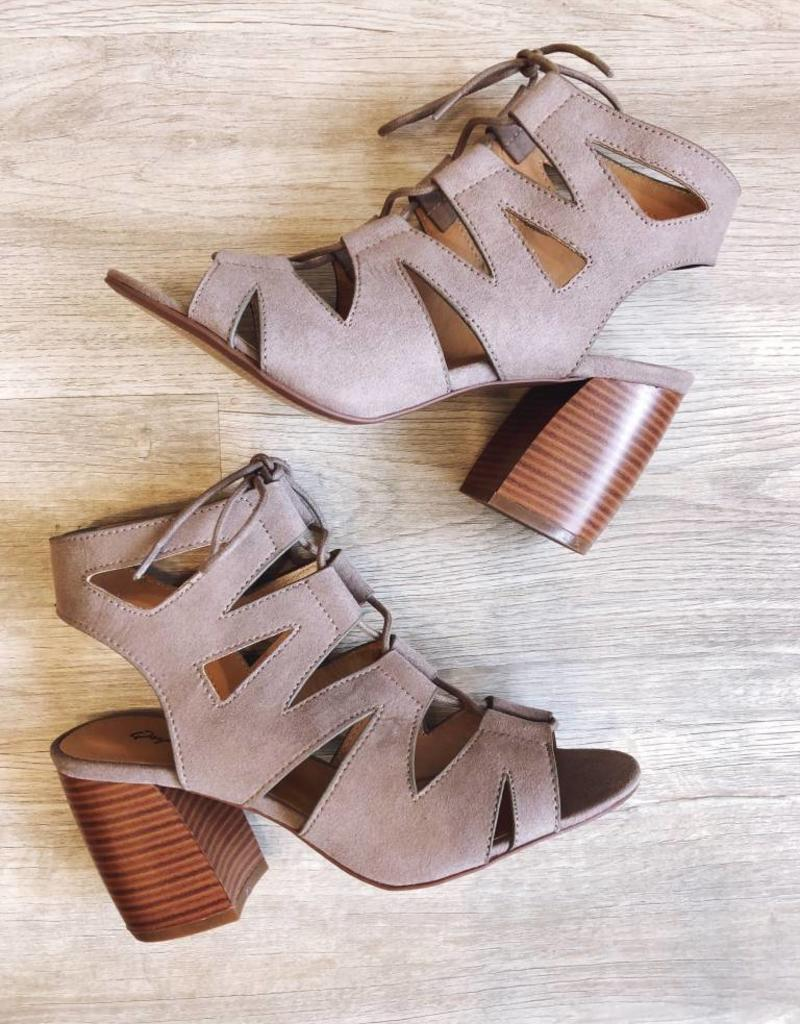 Beau Cut Out Lace Up Bootie Taupe