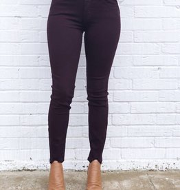 Hem Destruction Skinny Maroon