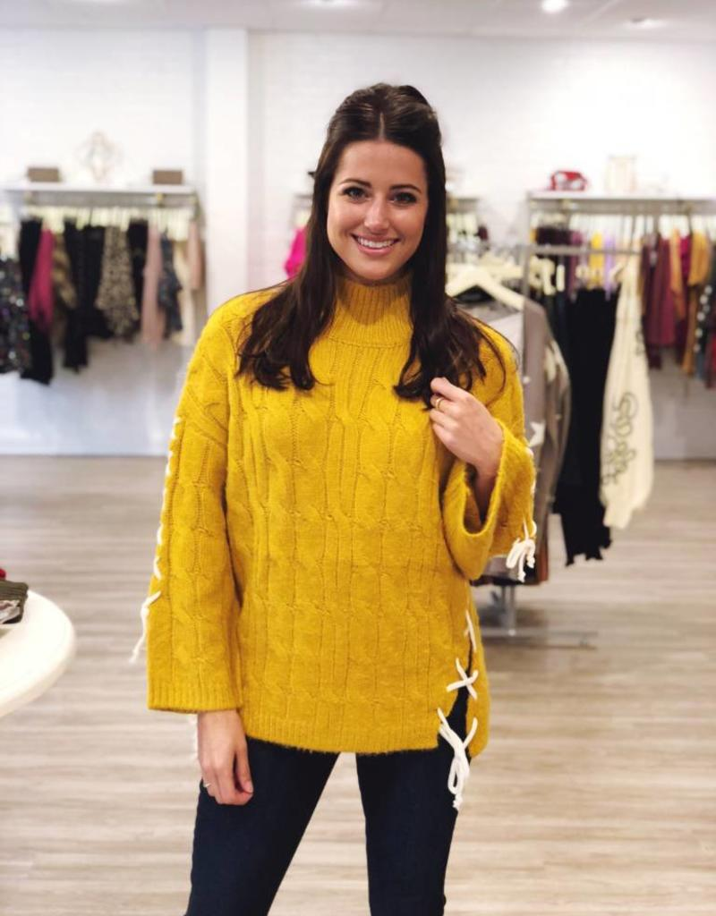 All Stitched Up Sweater Mustard