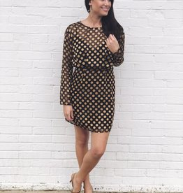 So Hot Polka Dot Dress Black/Gold