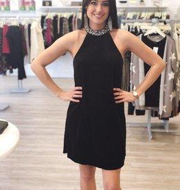 Pearl Perfection Velvet Dress Black