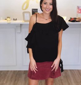 One Shoulder Top Black