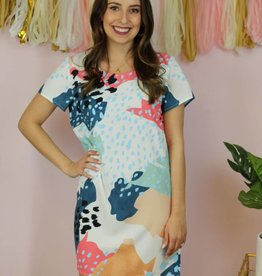 House of Quirky Meet Me By The Sea Abstract Tee Dress