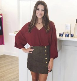 Olive Corduroy Skirt