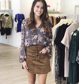 Lost + Wander Alicia mini skirt mocha