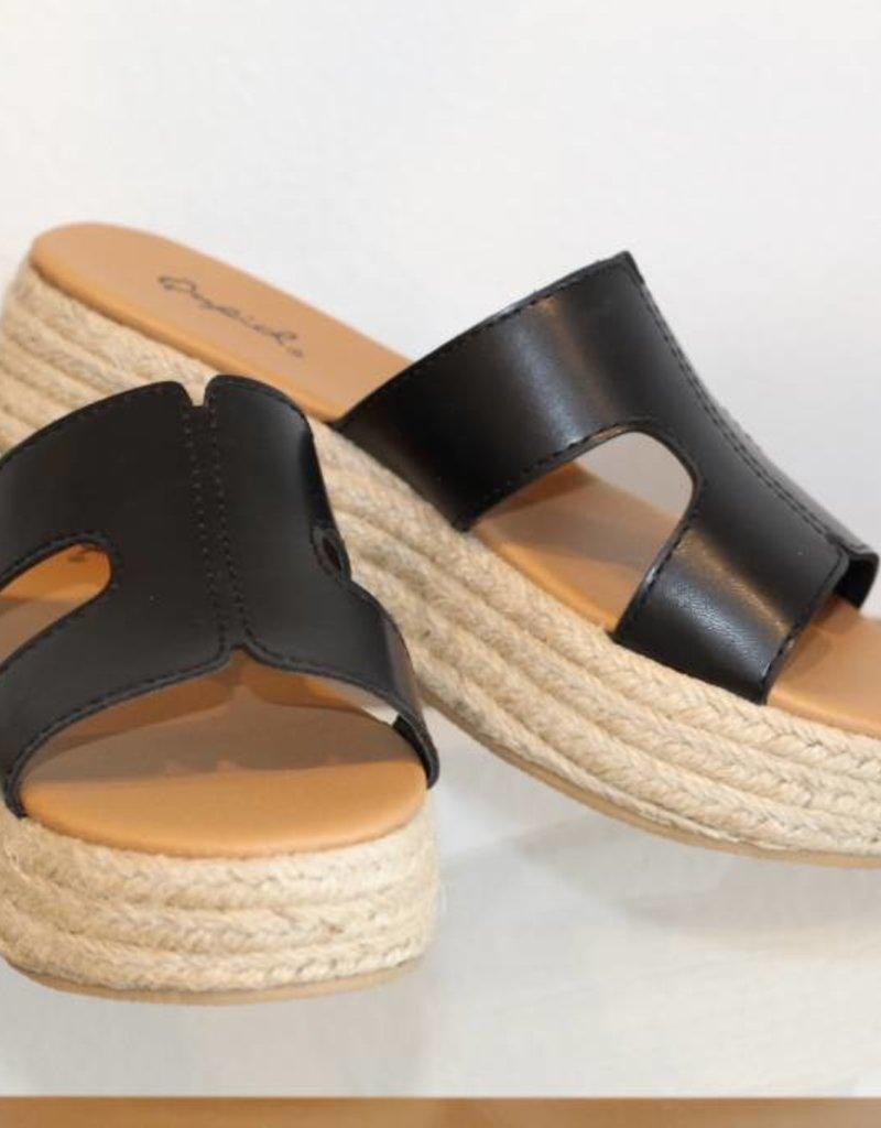 December Shoes Beachie Sandy Flatform Black