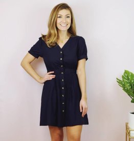 Button Me Up Dress Navy