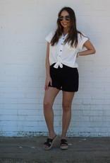 Frayed Hem Shorts Black