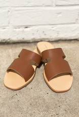 Chinese Laundry Mannie Leather Slide Cognac