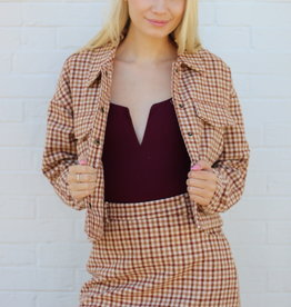 Greenwich Check Skirt Camel