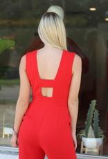 Adelyn Rae Ella Jumpsuit Red