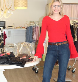 Mink Pink Not So Simple Top Red