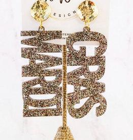 Ow Designs Mardi Gras Acrylic Earring